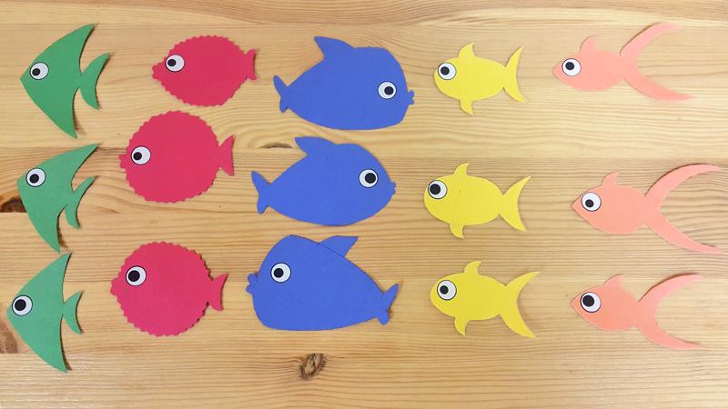 craft activity materials for feed the shark color identification game Miaomiao learn Mandarin Chinese for kids and toddlers