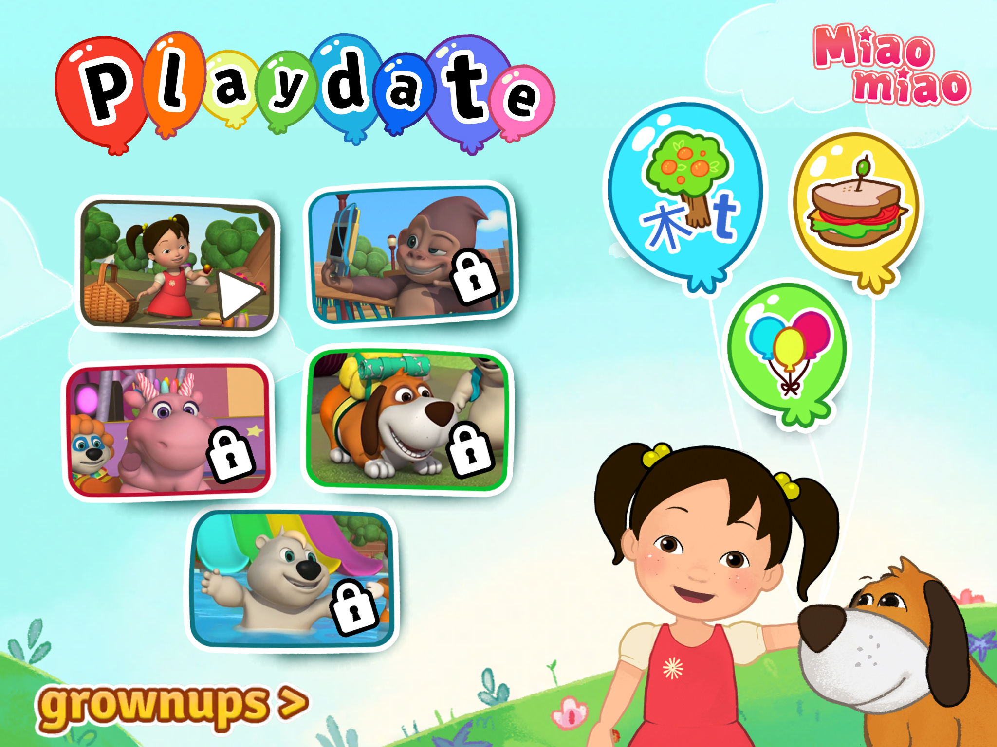 New Preschool Animated Series Miaomiao makes its debut appearance in the new app Playdate with Miaomiao